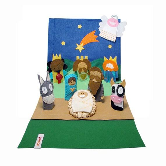Felt Nativity Scene - 9 Felt Finger Puppets - Nativity Set - Creche Scene - Manger - Finger Puppets - Eco Friendly Christmas Decoration