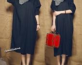 shirt linen dress, long linen dress/ loose fitting shirt dress in black /black dress, longsleeve dress ,oversized dress, kaftan dress