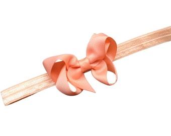 Peach headband - peach baby headband, newborn headband, elastic headband, baby bow headband, baby girls