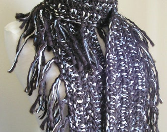 Zooey Scarf - Wool with Ribbon Detailing - Lots of Fringe -- Dark Black/Brown --  a Great Color that goes with everything