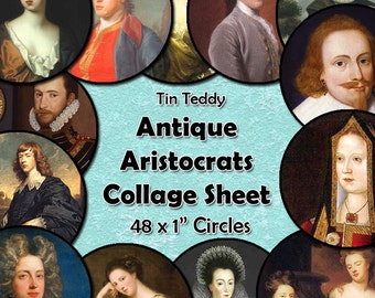 Antique Aristocrats Digital Collage Sheet  - 1 Inch Circles x 48  - Perfect for Jewelry, Bottle Caps etc Vintage Portraits