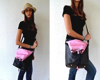 Leather bag / Black and metallic pink multiform leather bag / Handmade crossbody and shoulder bag / Black and metallic pink cow leather