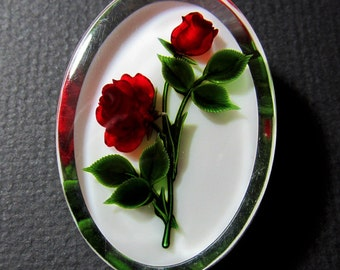 Vintage Lucite Pin with Embedded Carved Red Roses