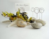 Six Warm Maine Granite Beach Stone Dinner (or) Event Place Card Holders