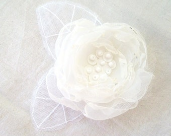 Wedding Hair Accessory White Ivory Mix Organza Flower Bridal Hair Clip Brooch with Total White Tulle Leaves by FairytaleFlower