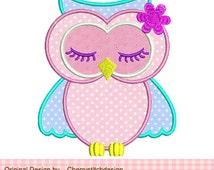 Cute sleeping owl Applique -4x4 5x7 -Machine Embroidery Applique Design