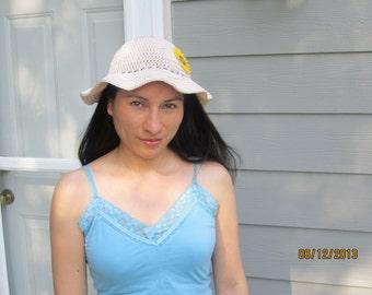 White summer hat - crochet nylon round headwear - Sunflower