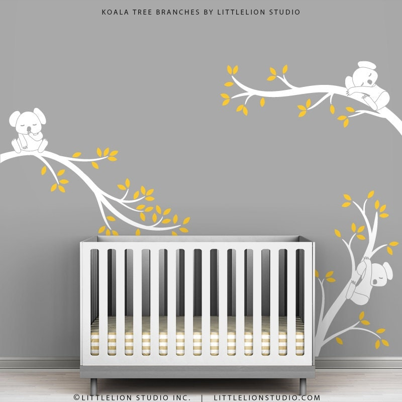 White tree wall decal baby nursery wall decor yellow leaves for Baby nursery wall decoration