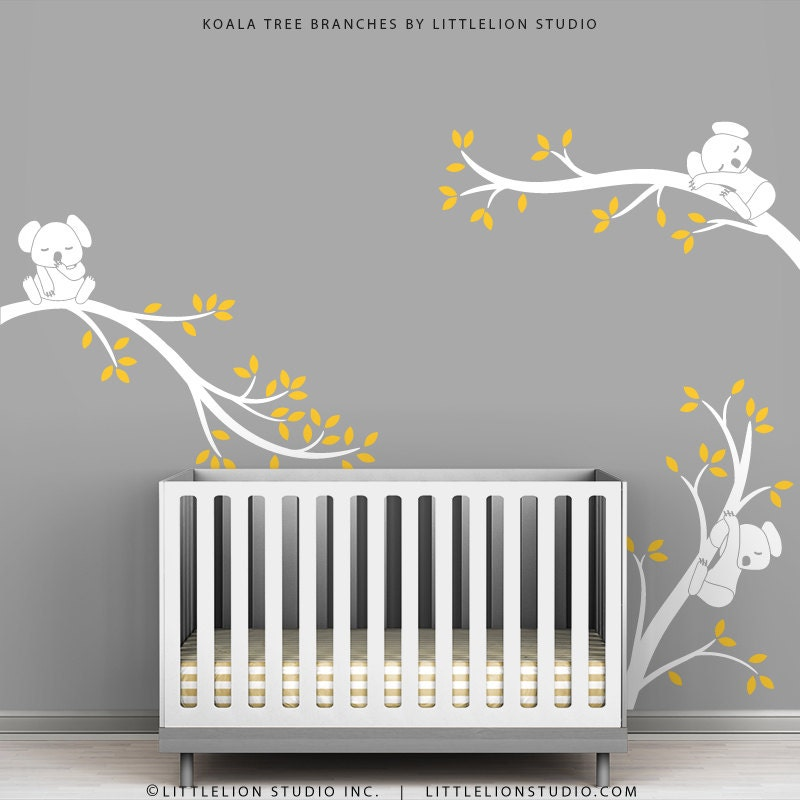 White tree wall decal baby nursery wall decor yellow leaves for Baby room wall decoration