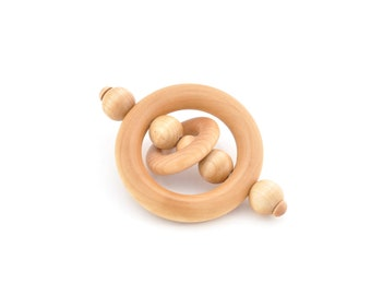 Baby Rattle - Montessori Wood Teether - Eco-friendly Grasping Infant Toy - Organic Wooden Rattle (X)