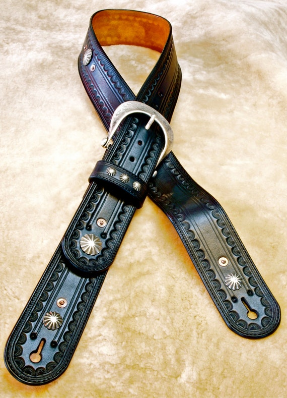 Leather Guitar strap Hand tooled, Handmade, Fine workmanship Black Vintage OUTLAW Cowboy Rockstar handmade for YOU in NYC by Freddie Matara