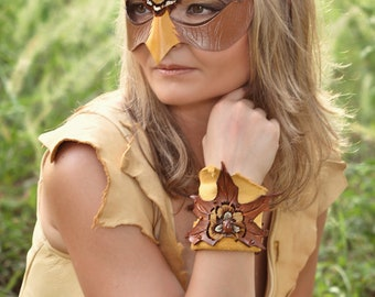 Leather Maple Leaf Cuff With Feathers And Carnelian