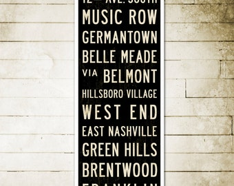 SMALL Nashville Art, Subway Sign, Nashville Poster, Subway Art, Industrial Decor, Home Decor, Rustic Sign on Canvas or Wood. 12 x 36