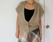 vintage women oatmeal taupe beige light brown oversized fit  deep V neck sweater vest cardigan (small medium large)