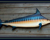 BLUE MARLIN wood fish carving, marine nautical decor, Fathers day gift, deep sea fishing art ,taxidermy wall mount trophy fish, 69 in..