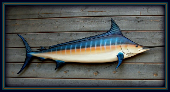 Blue Marlin Wood Fish Carving Marine Nautical Decor By