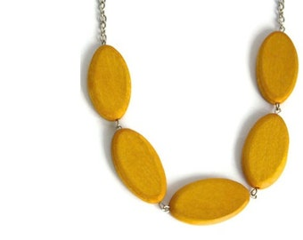 Mustard Yellow Necklace - Chunky Wood Necklace - Mustard Necklace - Yellow Wood Necklace - Minimalist Jewelry - Yellow Wooden Bead Necklace