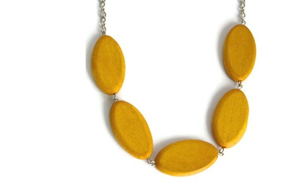 Mustard Yellow Chunky Necklace with Geometric Oval Wood Beads, Minimalist Jewelry