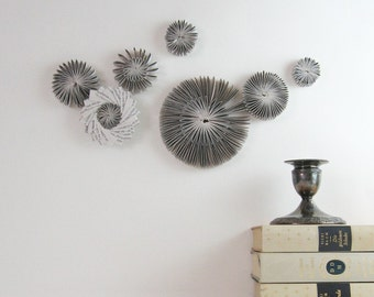 Paper Cog Wall Sculpture - Wall Appliques Paper Star Constellation Neutral Home Decor Grey Modern Art Installation - Recycled Book Paper Art