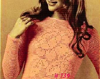 A BEST Vintage Mod Lace Rose Filet Long Sleeve Sweater 739 PDF Digital Crochet Pattern