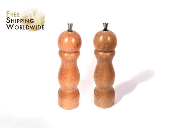 Wooden Pepper and Salt Grinder SET from Beech or Elm Wood