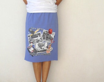 Womens Skirt Women's Recycled T-Shirt Skirt Periwinkle Lilac Lavender School Teaching Inspired Cotton Skirt Back to School Fall ohzie