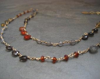 Multi gem stone necklace - gold filled