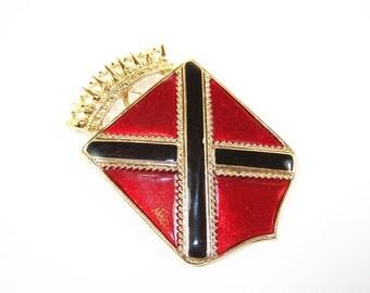 VINTAGE Large Crest Brooch by Craft, Designer Signed. Regal Red Black and Gold 1970 1980 Shield or Military Crest, Unisex