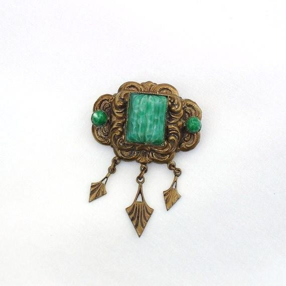 Antique Egyptain Rivival Jewelry / Victorian Scarab Brooch / Peking Glass Beaded Pin / Green Dangle Brooch, Metal Arrows