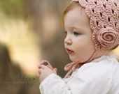 Rose Pink Crochet Bonnet, Wool Cashmere, with Flower and Ties, 6 to 12 Month Size (Item 872) - ThatsTheCutestThing
