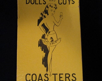 Vintage 1950's 1960's Coasters Guys & Dolls in Original Box Glass Cover Drinks Cocktail Barware