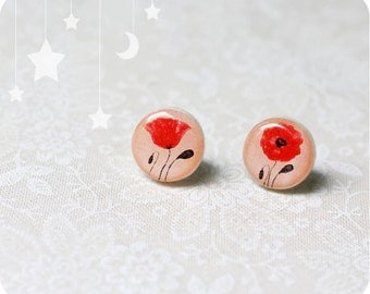 Poppy earrings - Poppy flower - Valentines gift - Poppy jewelry - Stud earings - Flower jewelry - Free shipping / STD05
