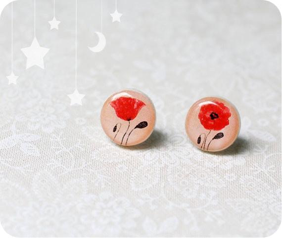 Poppy earrings - Poppy flower - Valentines gift - Poppy jewelry - Stud earings - Flower jewelry - Free shipping / STD05