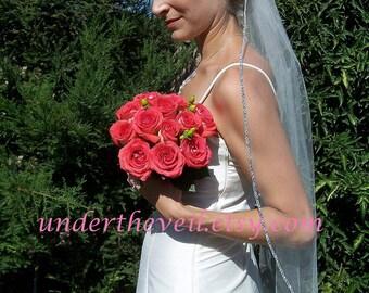 """Rhinestone VEIL, Crystal Veil, Wedding Veil, Fingertip Veil, Ivory Veil, Bridal Veil, Short Veil, Crystal Wedding Veil, 54"""" W"""