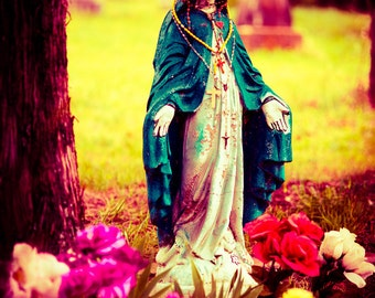 Fine Art Photography, Cemetery Photo, Virgin Mary, Home Decor, Guadalupe, Catholicism, Religious Statue, Print, Condolence Gift, Wall Art