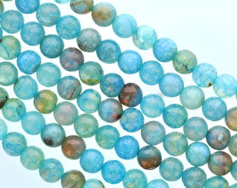 14mm Round FACETED Turquoise Ocean Blue AGATE Beads, full strand,  Natural Gemstones gag0127