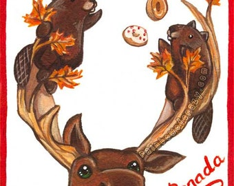 O Canada Print, Large Wall Art, Canadian Moose Decor, Cute Beaver, Wildlife Nursery Decor, Donut Party, Poutine Love, Woodland Animals
