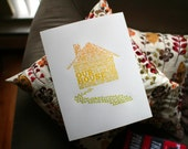 "Our House: letterpress typographic broadside print (11""x14""), garage sale edition"