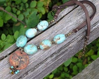 artisan made ceramic fairy pendant, turquoise gemstone and brown leather necklace. woodland inspired necklace. earthy. one of a kind OOAK.