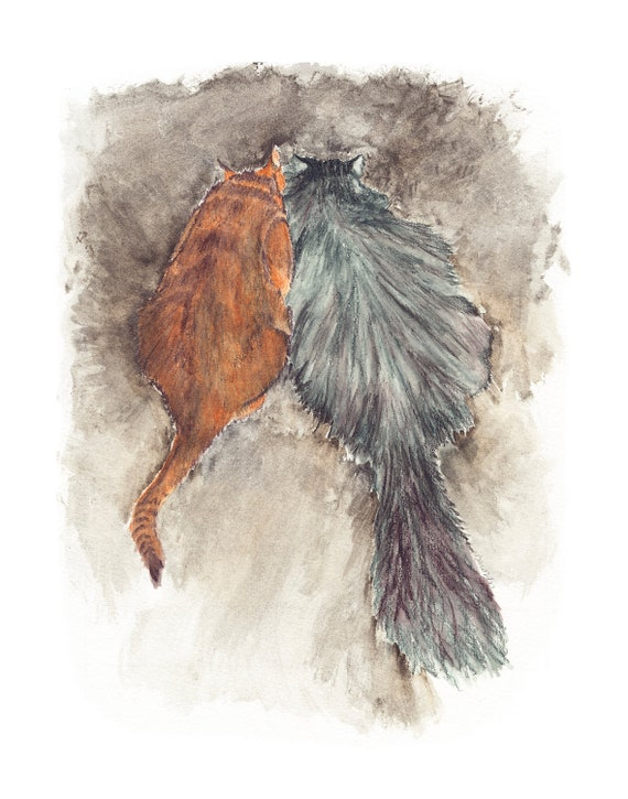 abyssinian & maine coon cats watercolor painting giclee print on cold pressed watercolor paper