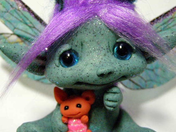 """OOAK Trollfling Troll Fairy """"Hanna-Lee"""" and her baby dragon """"Harper"""" by Amber Matthies"""