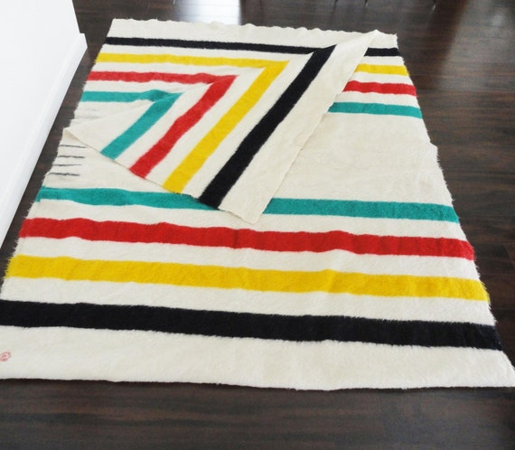 Hudson Bay Four Point Blanket Unseparated Pair Collectors Item