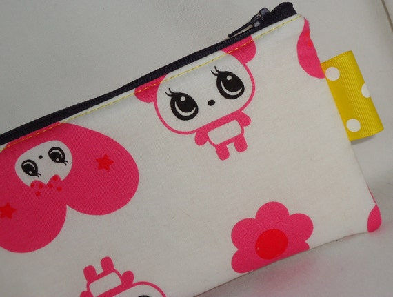 Large Sized Sweet Love Panda Padded Zippered Pouch --- Pink Cosmetic Case /Clutch/ Pencil Case
