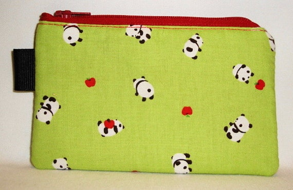 Kawaii Panda Bears Padded Zippered Pouch --- Green (Camera / IPod / Cell Phone Case)