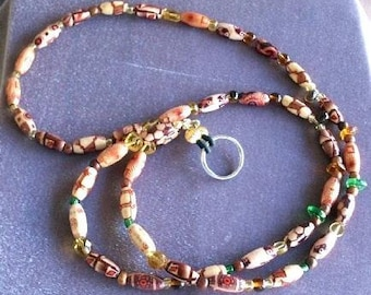 Lightweight Beaded Lanyard in Bamboo and Glass for Badges or Eyeglasses