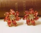 Vintage Pink Rhinestone Screw Back Earrings