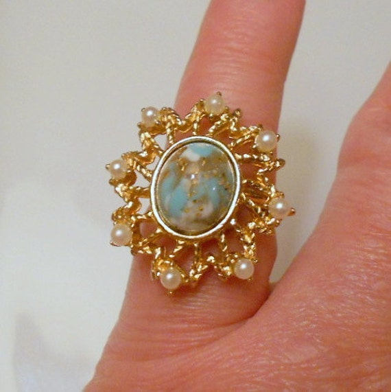 Vintage Sarah Coventry Ring, Signed Turquoise Cabochon Adjustable Ring