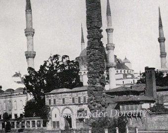 Sultan Ahmed Mosque Constantinople Turkey 1890 Rotogravure Photo Victorian Era Architecture Illustration To Frame