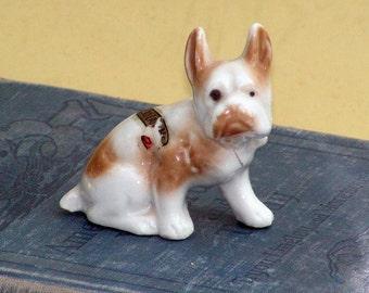 Boston Terrier Bulldog Figurine Hand  Painted Ceramic  Moosehead Lake Maine USA Souvenir Kitsch 1960s
