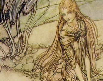 Undine The Little Mermaid Arthur Rackham Vintage Children's Nursery Lithograph Art Print To Frame